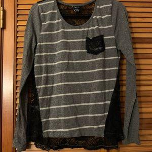 Rue21 Grey Striped Shirt Black Lace Back Sz. Large